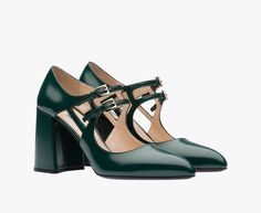 Brushed calf leather Mary Jane pump Double strap with metal buckle 85 mm chunky heel Leather sole