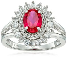 Sterling Silver Created Ruby Oval Shape with Tapered Baguette Created White Sapphire Fashion Ring, Size 7. Imported.