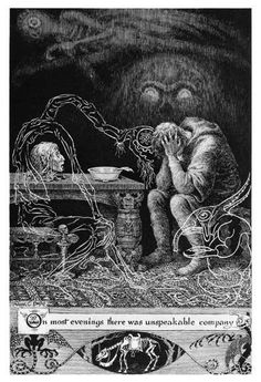 The life and artwork of English artist Frank Cheyne Pape. Art And Illustration, Black And White Illustration, Illustrations, Arte Obscura, Macabre Art, Occult Art, Scratchboard, Arte Horror, Surreal Art