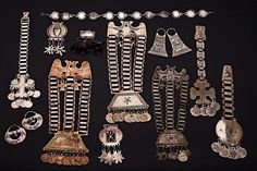 south-central Chile and southwestern Argentina. | A collection of Mapuche silver jewellery and adornment pieces