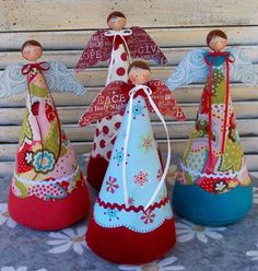 Christmas angels using a cone shape, they have painted wooden bead heads, scrapbooking paper wings, and bright fabrics. Christmas Sewing, Christmas Angels, Christmas Art, Christmas Projects, All Things Christmas, Christmas Holidays, Christmas Decorations, Christmas Ornaments, Angel Crafts