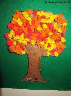 Knutselen Herfstboom van propjes Diy For Kids, Paper, Crafts, Painting, Image, Pdf, School, Fall, Bricolage