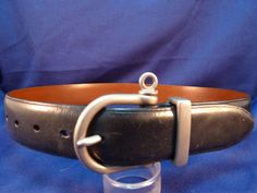 Ralph Lauren Belt Classic Black Italian Leather Heavy Silver Tone Buckle Size 28 #RalphLauren