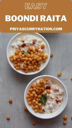 Boondi Raita is a very simple yet very delicious accompaniment recipe made with curd/yogurt. Indian Food Recipes, Vegetarian Recipes, Snack Recipes, Ethnic Recipes, Snacks, Boondi Raita Recipe, Chaat Masala, Recipe Details, Biryani