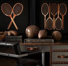 Vintage 20th Century Athletic Gear   Leather Football and Basketball from Restorationhardware.com