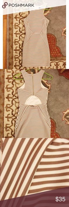 White and beige striped dress White and beige striped mini dress with back cut out. Dresses Mini
