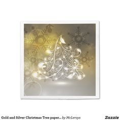 Gold and Silver Christmas Tree paper Napkins
