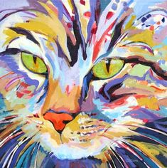 Contemporary cat painting portrait Confetti, painting by artist Carolee Clark