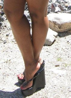 Black Wedges Thongs
