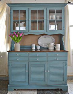 Heir And Space: A Maple Ethan Allen Hutch In Blue And Cream · Furniture Redo Furniture ProjectsFurniture RefinishingPainted ...