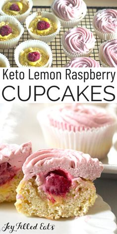 Lemon cupcakes filled with lemon curd Sugar Free Treats, Sugar Free Desserts, Sugar Free Recipes, Healthy Dessert Recipes, Gluten Free Desserts, Cupcake Recipes, Gluten Free Grains, Keto Snacks, Raspberry Lemonade Cupcakes