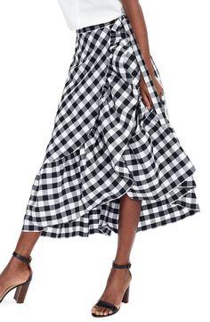395fa98039f J.Crew Gingham Ruffle Wrap Skirt