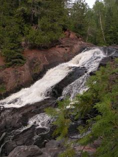 Saxon Falls is located on the Montreal River just a few miles upstream of Superior Falls, about 10 miles west of Ironwood. The Montreal River forms part of the border between Michigan and Wisconsin so the falls is technically in both states.