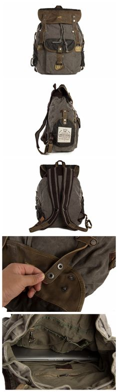 Canvas with Leather Backpack, School Backpack, Canvas Backpack, Rucksack