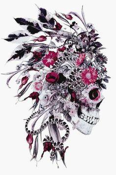 Pretty Skull Tattoos, Floral Skull Tattoos, Sugar Skull Tattoos, Beautiful Tattoos, Feminine Skull Tattoos, Lace Flower Tattoos, Lace Skull Tattoo, Flower Skull, Sugar Skulls