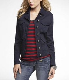 Navy jacket, navy & red striped shirt