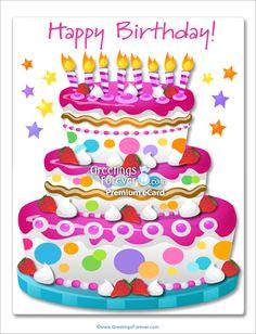 Giant ecard for birthday in pink - Happy Birthday, enviar tarjeta, tarjetas postales virtuales - TuParada.com
