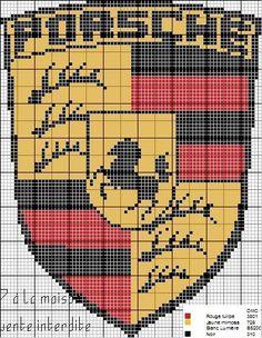 Porsche logo x-stitch Pixel Art Logo, Lamborghini Logo, Logo Porsche, Pixel Art Templates, Peler Beads, Beading Tools, Quilted Gifts, Minecraft Pixel Art, Mini Cross Stitch