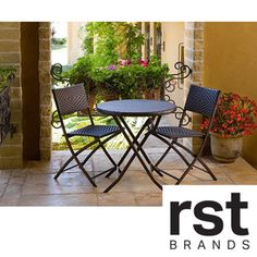 @Overstock - RST Cantina Bistro 3-piece Folding Dining Set - Add a sophisticated touch to your garden or patio with this charming folding dining set. The aluminum frame is both light and sturdy, allowing you to easily move and store the pieces. Resin wicker provides comfortable and durable seating.  http://www.overstock.com/Home-Garden/RST-Cantina-Bistro-3-piece-Folding-Dining-Set/4408865/product.html?CID=214117 $199.99