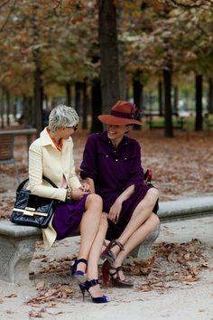 Garance and Elisa at the Jardin des Tuileries, Paris. Photo by Scott Schuman <3