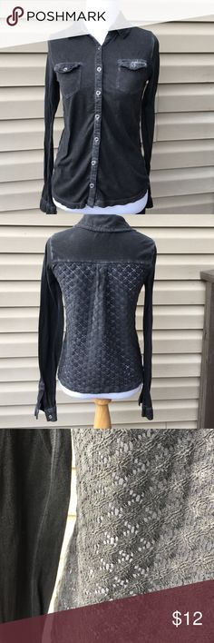 Urban Outfitters staring at stars women's shirt Nice long sleeve button shirt woven back cotton knit gray with some color fading at seams and pockets ( part of design) no snags stains or holes Urban Outfitters Tops Blouses