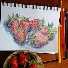 15 отметок «Нравится», 4 комментариев — 🐦 Natasha Oleinikova (@ol.natalie) в Instagram: «А вот и лето🍓  #sketchbook #sketch #summer #art»