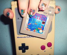 Nintendo Tetris nails