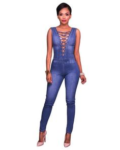 youul Womens Sleeveless Hammock Wide-Leg Jumpsuits Romper with flounc Jeans Jumpsuit