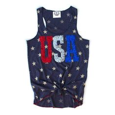 Sequin Usa Star Tank 4th of July Tank 4th of July Shirt Stars and... (745 MXN) ❤ liked on Polyvore featuring tops, shirts, blue tank top, striped tank top, party shirts, star shirt and beach shirts