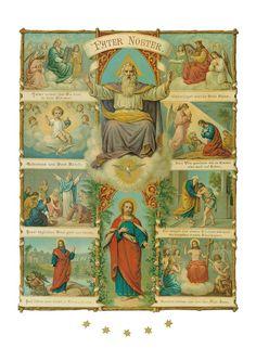 Pater Noster Padre Nuestro. Las líneas individuales de la Oración del Señor se acompañan de ilustraciones impresionantes.