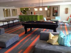 On Line and Off Line bring this game room to life! Interface carpet tile
