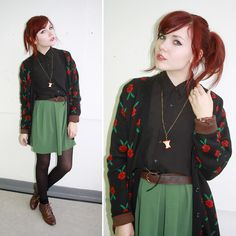 Pepa Love Black Cardie With Rose Print, Pepa Loves Green Pleated Skirt With Bow Detail, Primark Black Button Up Shirt, Belt, Topshop Brown Boots, Apple Necklace