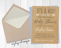 """Kraft paper """"It's a BOY!"""" baby shower invite! Printable file! by RayBrynDesigns on Etsy"""