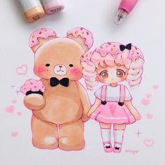 Sweet Drawings, Cute Kawaii Drawings, Art Drawings Sketches Simple, Beautiful Drawings, Chibi Kawaii, Cute Anime Chibi, Kawaii Art, Alice Anime, Kawaii Disney
