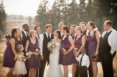 Checkout this Portland Oregon wedding, bridesmaids wore the L'Amour style in a custom Plum color