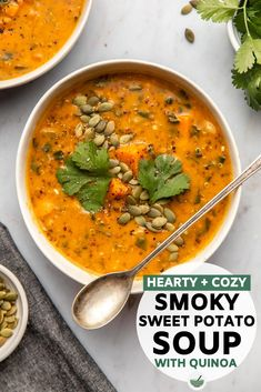 This Smoky Sweet Potato Soup is cozy, heart, and jam-packed with flavor! Sweet potatoes, quinoa, and warming spices combine to make this plant-based recipe. #soup #sweetpotatosoup #vegan #plantbased #veganmealprep