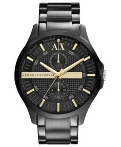 A|X Armani Exchange Watch, Men's Black Ion Plated Stainless Steel Bracelet 46mm AX2121