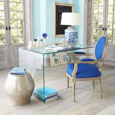 W7113Louis XVI End Chair - Royal Blue