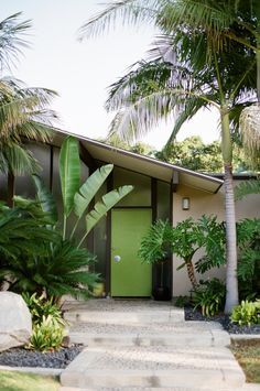 Joseph Eichler (1900–1974) developed and built mid-century homes. They featured now-iconic, advanced designs of open interior spaces, sliding doors, and large expanses of glass windows. Advocating modern architecture for general public availability, Eichler homes had two bathrooms, radiant heated floors, and post-and-beam construction, while most postwar tract homes had only one bathroom, wall radiators and traditional framing. This example with clerestory windows is in Orange, California.