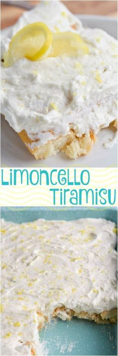 Limoncello Tiramisu is a simple yet sophisticated adult dessert recipe. Think of it as a Boozy Lemon Icebox Cake. Lady finger cookies soaked in limoncello sandwiched between layers of mascarpone whipped cream! Icebox Desserts, Lemon Desserts, Lemon Recipes, Easy Desserts, Sweet Recipes, Delicious Desserts, Finger Desserts, Awesome Desserts, Yummy Recipes
