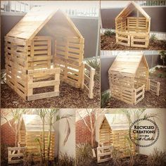 Simple, elegant and rustic handmade pallet cubby houses These simple pallet cubby houses can be made to your exact specifications from what size and colours . Kids Outdoor Play, Outdoor Play Spaces, Backyard For Kids, Pallet Tree Houses, Pallet House, Cubbies, Pallet Kids, Pallet Playhouse, Pallet Fort