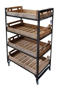 Retail Fixtures- Metal Merchandising Unit with Wooden Trays  Available at: http://www.wbc.co.uk/4-shelf-metal-merchandising-stand?sc=64=93432  Prod Ref: RD/CHIT