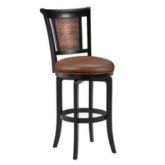 Cecily Black Copper Swivel Counter Stool With Brown Vinyl Hillsdale Furniture Counter Heig