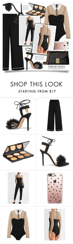 """""""Silk crepe de chine wide-leg pants"""" by sweetsely ❤ liked on Polyvore featuring Charlotte Olympia, Valentino, Nanacoco, Fleur du Mal, Casetify, Calvin Klein and polyvoreeditorial"""