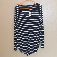 Gap v neck shirt Brand new super cute and relaxed long sleeve shirt GAP Tops Tees - Short Sleeve