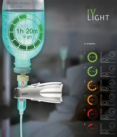 IV Light – a glow in the dark label that reflects the amount of fluid remaining. Each color meaning the time left until the bag needs changing. #IV #medical #YankoDesign