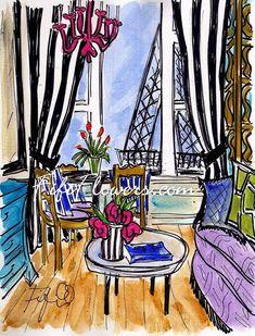Striped Parisian Window por fififlowers en Etsy, $25.00