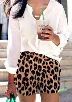 .white blouse + leopard print shorts