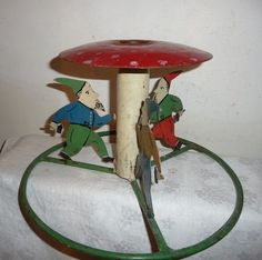 C 1920 Vintage RARE European Christmas Tree Stand Holder 3 Wood Gnomes Dwarfs