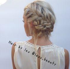 Hair by: lex @lexx_beauty Model: Alexandra Tyler  Clothes: D.ra clothing Braids, updo, boho, summerhair, beach hair, beachwaves